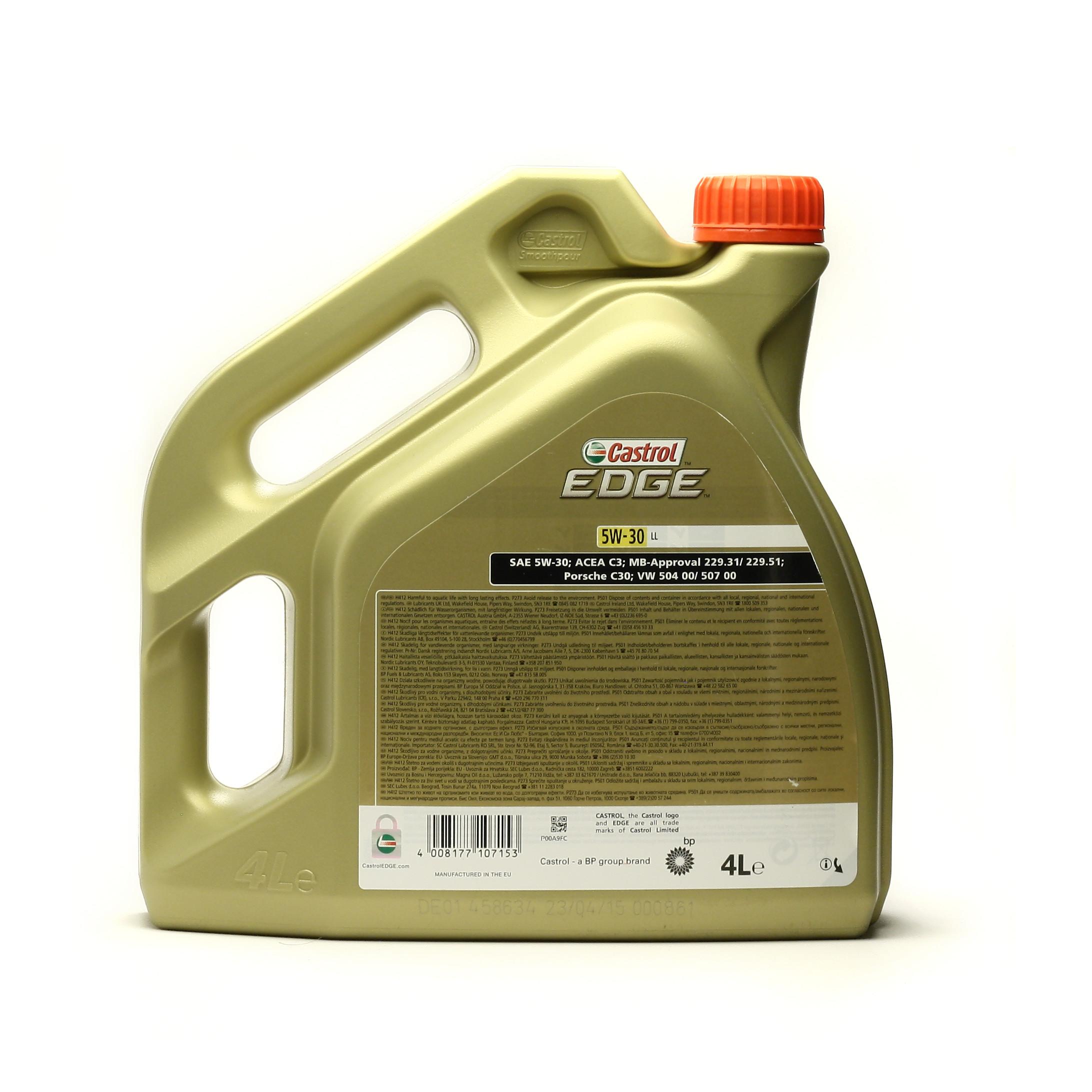 8c2e9e02d16 EDGE 5W30 LL 4L - Synthetic engine oil Toote pilt valmistaja poolt. Tegelik  toode on pildil näidatud tehniliste detailitega.